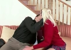 Naughty coed chick Eden Adams lures her drawing master to suck his dick