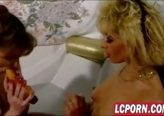 Vintage porn with couple having anal sex and later two lesbians fucking in bathtub