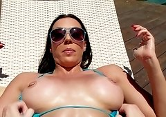 Busty brunette got fucked by the pool