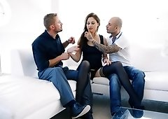 Shy brunette gets aroused by two lads