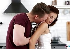 Russian red haired babe Kate Rich gets her anus fucked for the first time