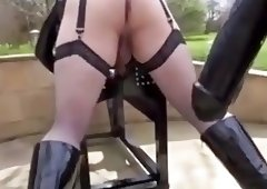 Sissy slut pegged by an extremely huge strapon